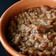 Minestra di riso e fagioli con castagne secche