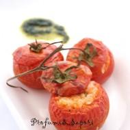 Pomodori ripieni di riso con verdure e gorgonzola