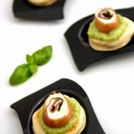 Minipiadina al farro con crema di zucchine, bresaola e stracchino