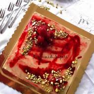Torta moderna pistacchio e lamponi