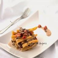 Caserecce con crema di radicchio, gorgonzola e pancetta